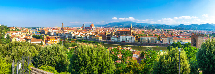 Florence, Italy. Panorama of Florence city on clear summer day. Panoramic view of Florence, Italy. Firenze cityscape Wall mural