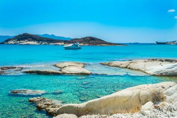 Prasa beach with turquoise crystal waters in Kimolos island, Cyclades, Greece