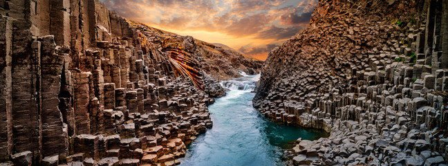 Breathtaking view of Studlagil basalt canyon, Iceland, Europe. Wall mural