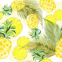 Pineapple Watercolor Fresh Vector Seamless Pattern Textile Design