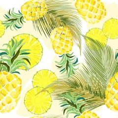 In de dag Draw Pineapple Watercolor Fresh Vector Seamless Pattern Textile Design