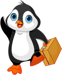 Deurstickers Sprookjeswereld Penguin with a Suitcase
