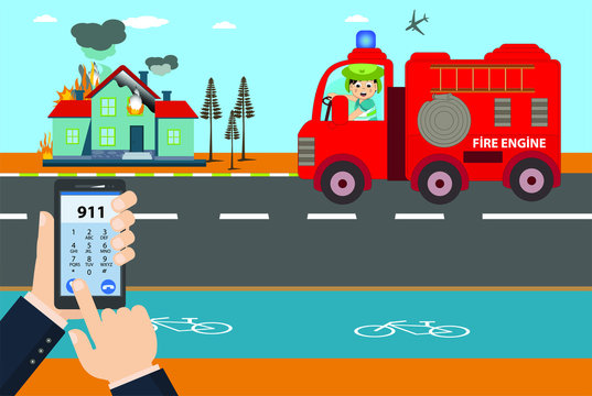 illustration of hand calling by phone to notify the fire engine. Emergency call 911 concept. Hand holding mobile phone with emergency number 911 on the screen. house fire.  fire department, fire briga