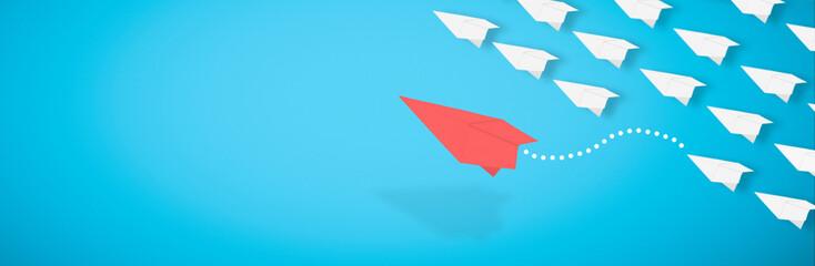 3d rendering, red paper airplane is leaving the herd