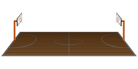 Isolated basketball field on a white background - Vector