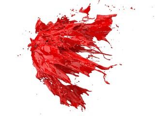 red fluid splash on white background. 3d illustration Wall mural