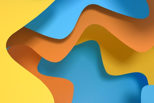 Curve paper background, colorful background, 3d rendering