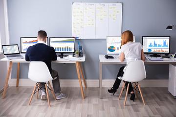Businessman And Businesswoman Analyzing Bar Graph Using Computer