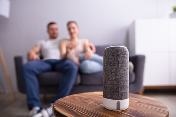 Close-up Of Wireless Speaker On Furniture