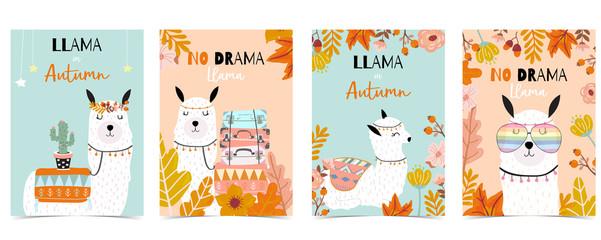 Blue orange hand drawn cute card with llama,cactus,glasses,flower.no drama llama