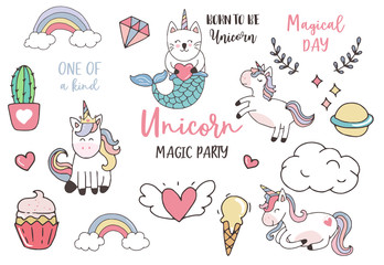pastel unicorn set with unicorn,ice cream,cactus,caticorn,wreath illustration for sticker,postcad,birthday invitation