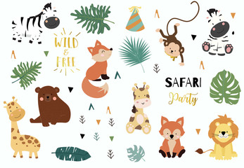Safari object set with fox,giraffe,zebra,bear,monkey,leaves. illustration for sticker,postcard,birthday invitation.Editable element