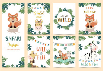 Wall Mural - Collection of safari background set with head giraffe,fox,zebra,jungle.Editable vector illustration for birthday invitation,postcard and sticker.Wording include wild and free