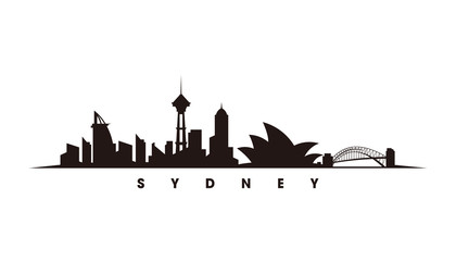 Wall Mural - Sydney skyline and landmarks silhouette vector
