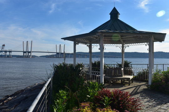 Cute little gazebo overlooking the new Tappan Zee Bridge, also known as the Mario Cuomo Bridge, and the Hudson River -03