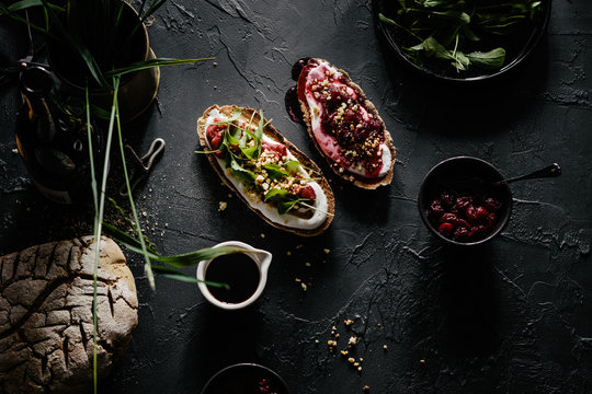 Rye Sourdough Toast with Sweet and Savory Toppings