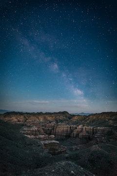milky way above charyn canyon, kazakhstan