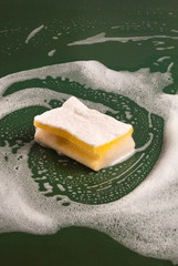 Close up of sponge with soap