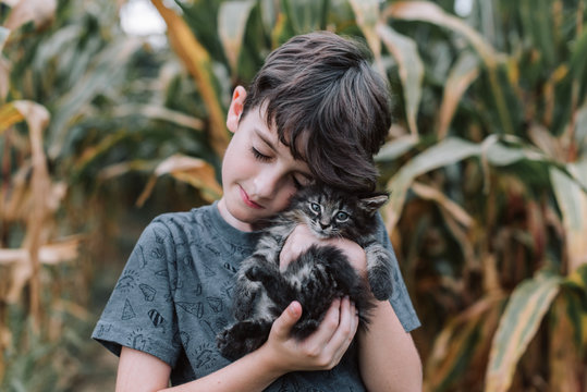 Boy and kitty