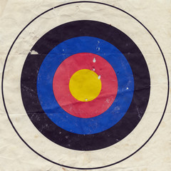 Used grungy paper bullseye target