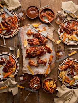 Messy Meal: Barbeque Ribs and Chicken