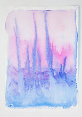 Watercolour painting of blue and pink colours running into each other