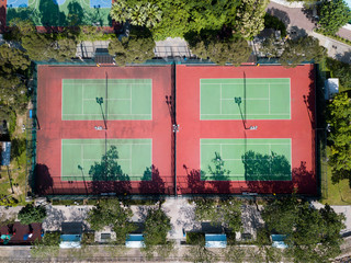 Aerial Views Of Tennis Court