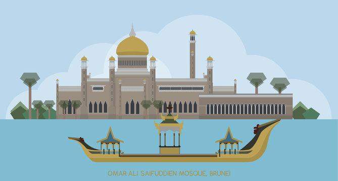Vector of Sultan Omar Ali Saifuddin Mosque Islamic mosque, Brunei