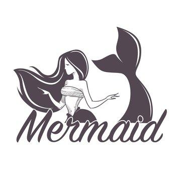 Mermaid swimming marine company siren isolated icon