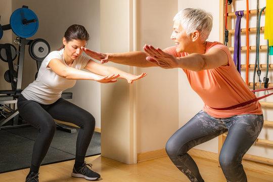 Senior Woman Doing Squats