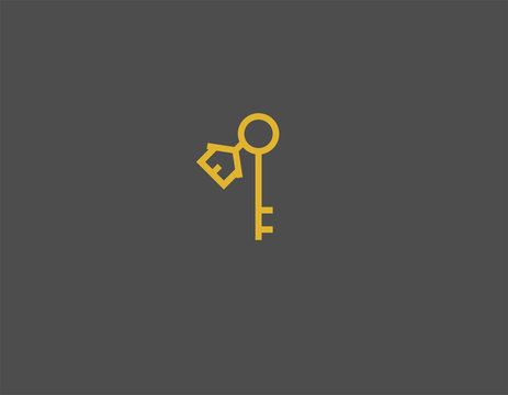 Creative Abstract linear logo icon keys and keychain house