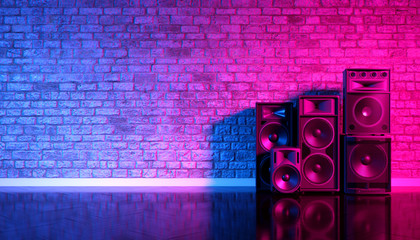 Speakers on the background of an old brick wall in the enon light, 3d illustration