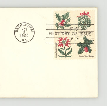 Christmas stamps Weihnachten Briefmarken Amerika vintage retro First Day of Issue Erstagsbrief umschlag envelope Bethlehem PA 1964 Holly Mistletoe Poinsettia Spring of Conifer  grün rot weiss green