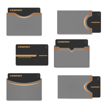 Card holder with plastic card, vector template set. Blank sleeve envelope case for credit, gift or business cards