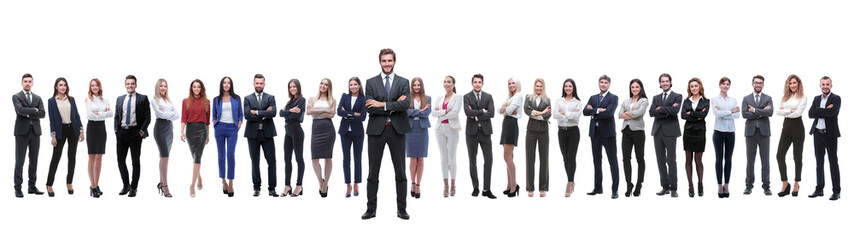 Fototapeta leader standing on the background of a large business team