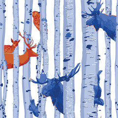 Wild forest animals hiding among the birch trees