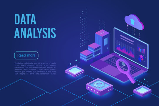 Data analysis dark neon light isometric web vector template. Web analytics, marketing service. Big data, Iot 3d concept. Business financial research. Database, data storage. Statistics analyzing