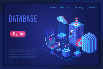 Database landing page dark neon light isometric vector template. Internet of things, data server storage 3d web banner. Telecommunication, cloud computing service website homepage. Wall mural