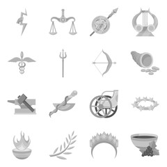 Vector illustration of ancient and culture icon. Set of ancient and antique stock vector illustration.