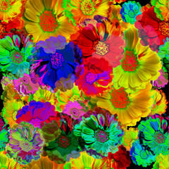 Seamless floral pattern background with stylish vibrant colors.