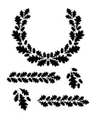 Obraz Oak leaf wreath.  Silhouette circular oak wreath. Vector illustration template. - fototapety do salonu