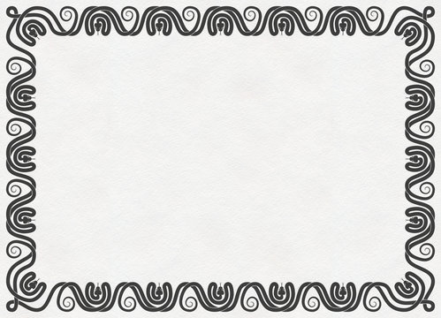 Horizontal frame of black intertwined venomous snakes silhouette on paper texture