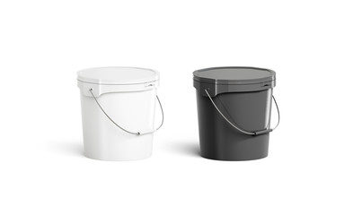 Blank black and white paint bucket with handle mock up isolated, half front view, 3d rendering. Clean dark storage for gathering berries or milk mockup. Empty fast food pail template.