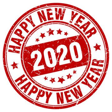 happy new year 2020 stamp. year 2020.