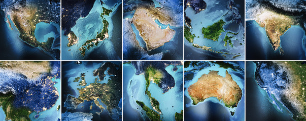 Wall Mural - Planet Earth geography map set