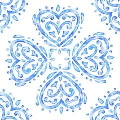 Hand drawn watercolor heart ornament, blue tile pattern, vintage decorative square illustration.