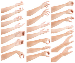 GROUP of Male asian hand gestures isolated over the white background.
