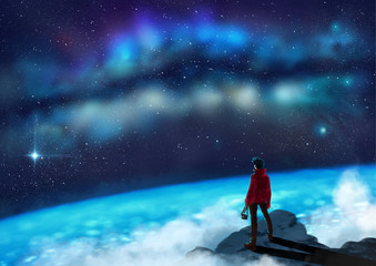 Young Photographer standing on a mountain top gazing at the glowing milkyway - digital painting - Fantasy Concept
