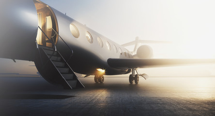 Business private jet airplane parked at terminal. Luxury tourism and business travel transportation concept. Closeup. 3d rendering Wall mural