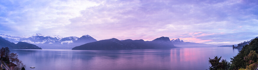 Panorama of sunset over Lake Lucerne.